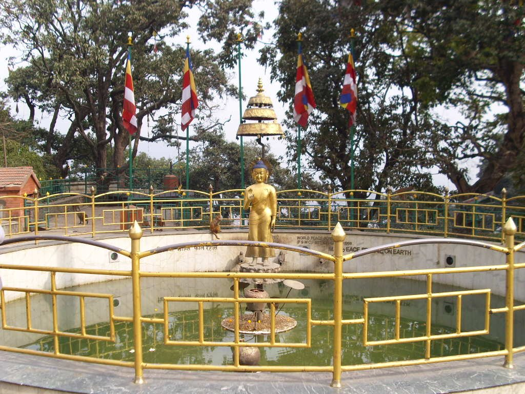 World Peace Pond in front of the west entrance of the Swayambhunath stupa - Highslide JS